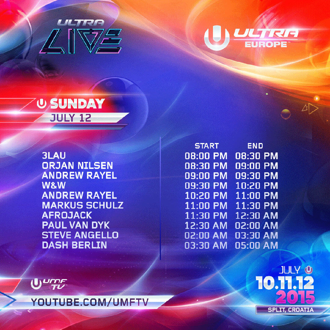 ULTRA LIVE Releases Stream Times for Day 3 of ULTRA Europe