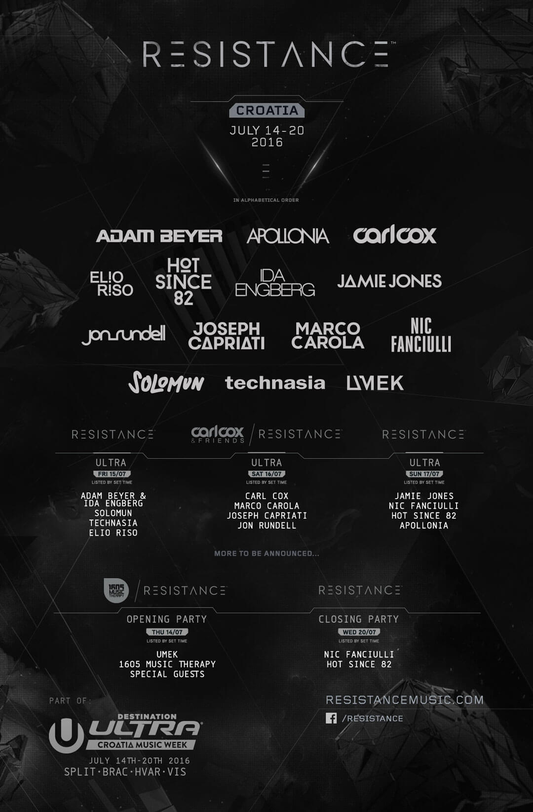 Resistance™ Announces Huge Lineup for Destination Ultra – Croatia Music Week
