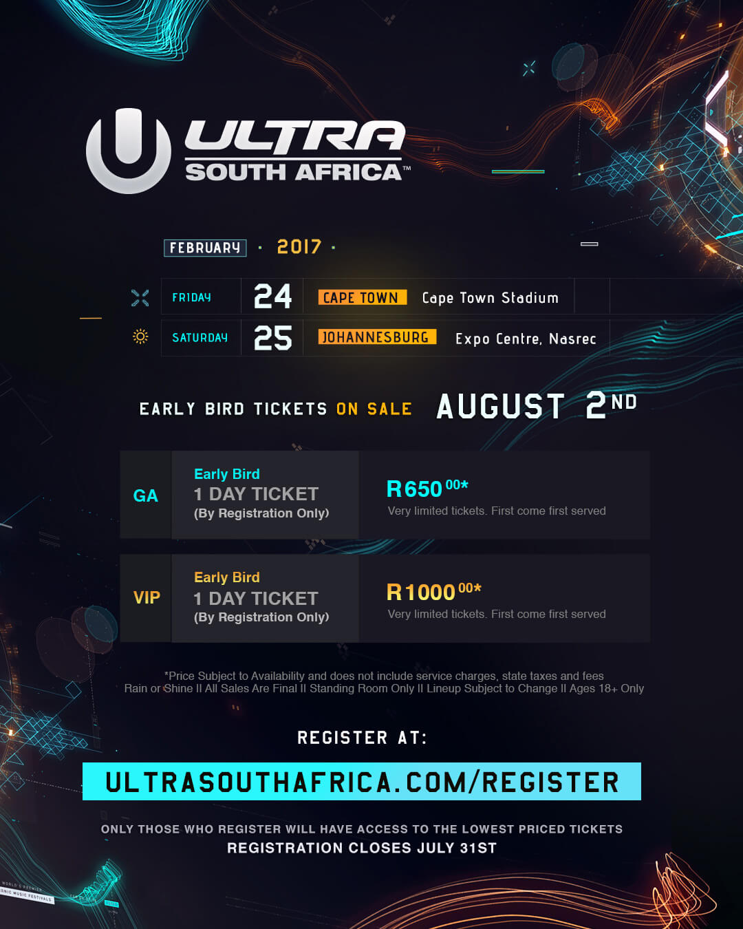 ULTRA South Africa Announces New Venue, Early Birds on Sale August 2nd
