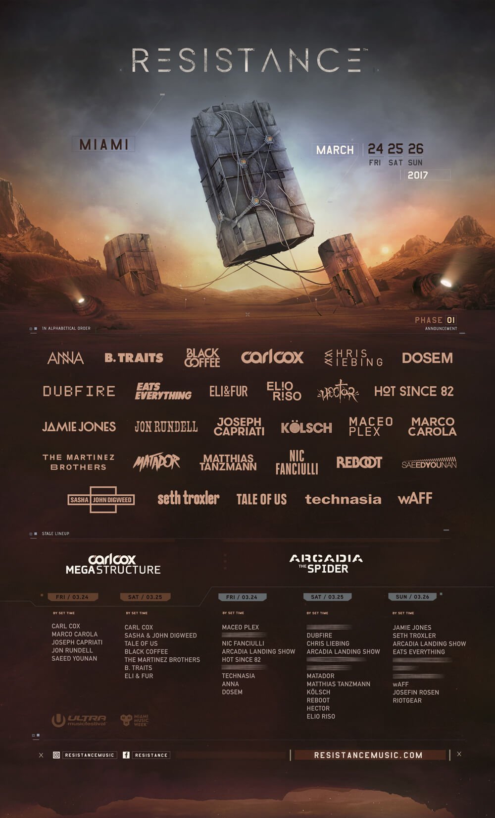 Ultra Music Festival Confirms Thirty-One Acts in Biggest Resistance Phase 1 Lineup To Date