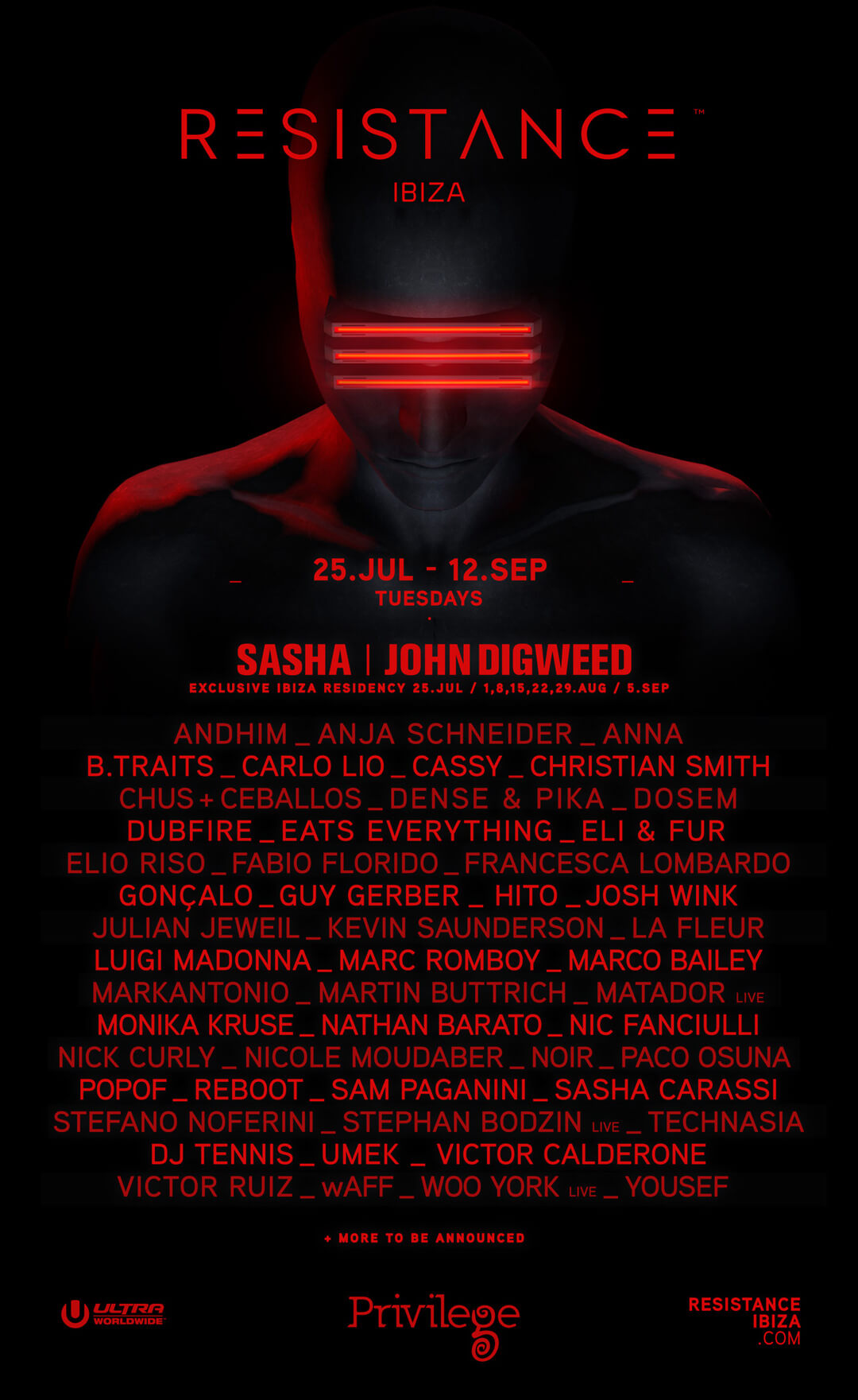 RESISTANCE Adds Over Forty Acts to Lineup for Debut Season to Privilege Ibiza