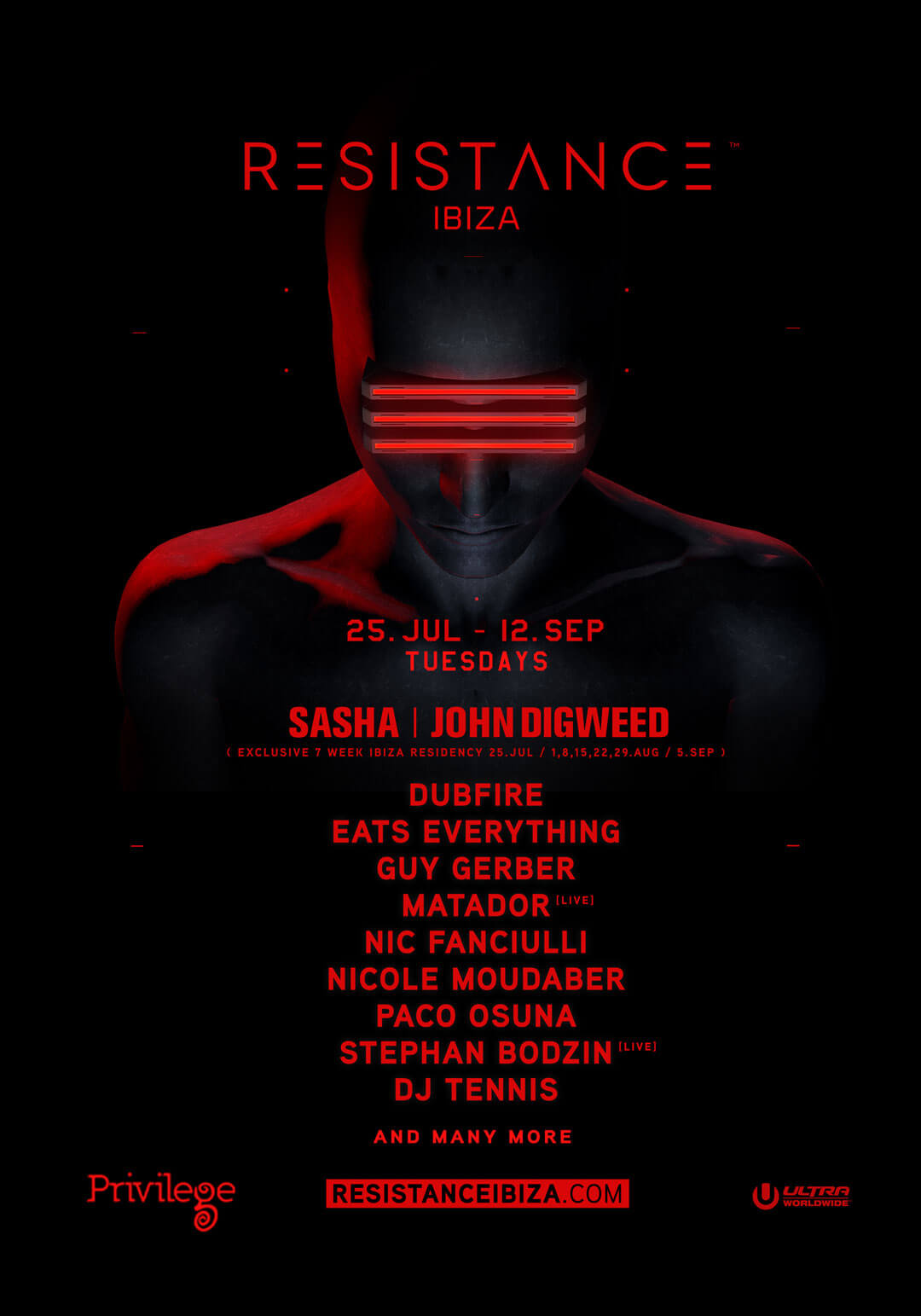 RESISTANCE™ Announces First Round of Artists for Eight-Week Season at Privilege Ibiza