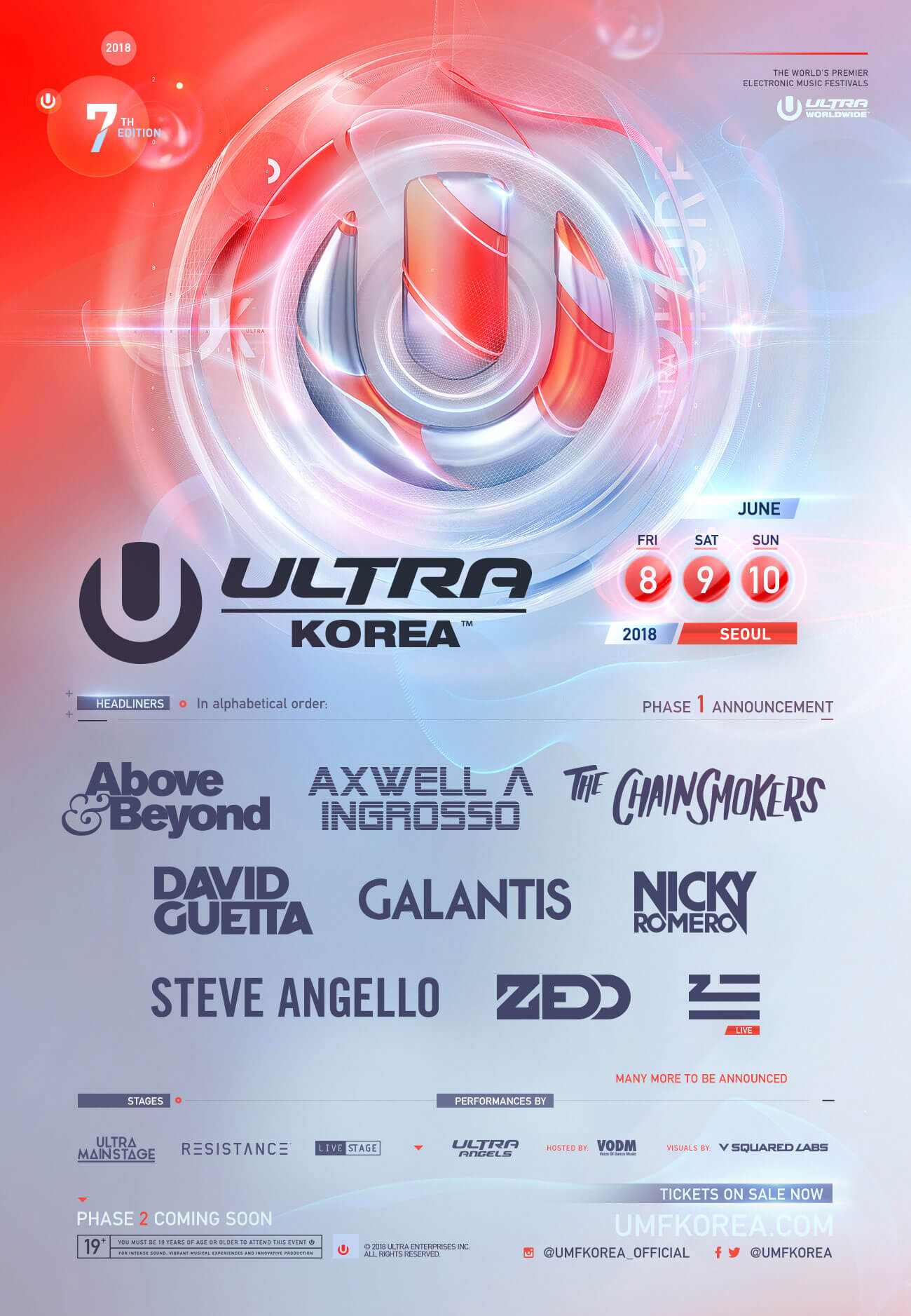 ULTRA Worldwide Presents Phase 1  Artists for ULTRA Korea 2018