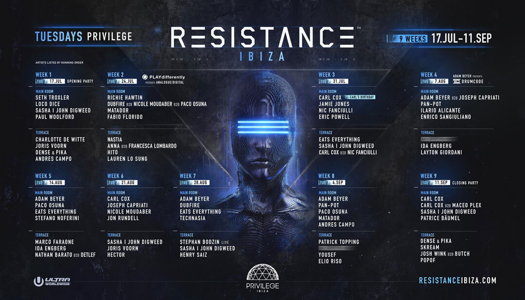 RESISTANCE IBIZA Announces Full Lineup and Programming for 9 Week 2018 Season