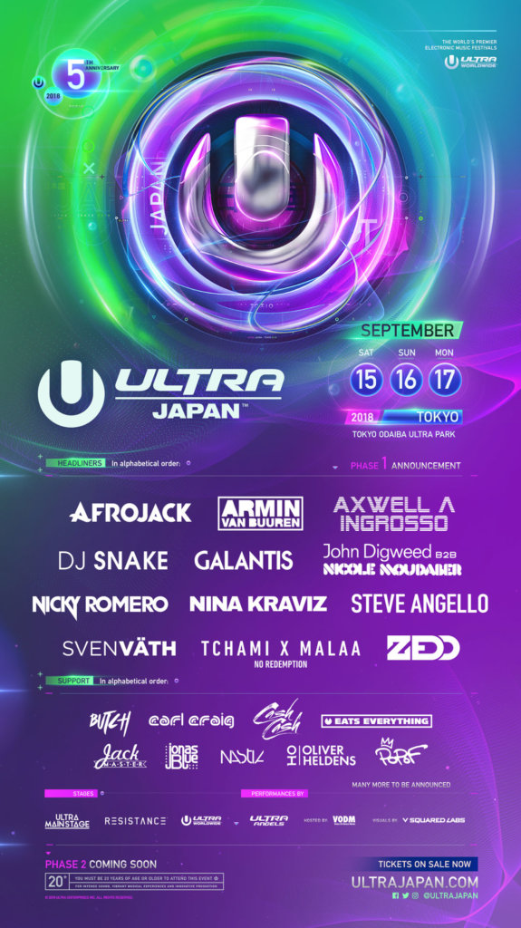 Ultra Japan 2018 Phase 1 Lineup