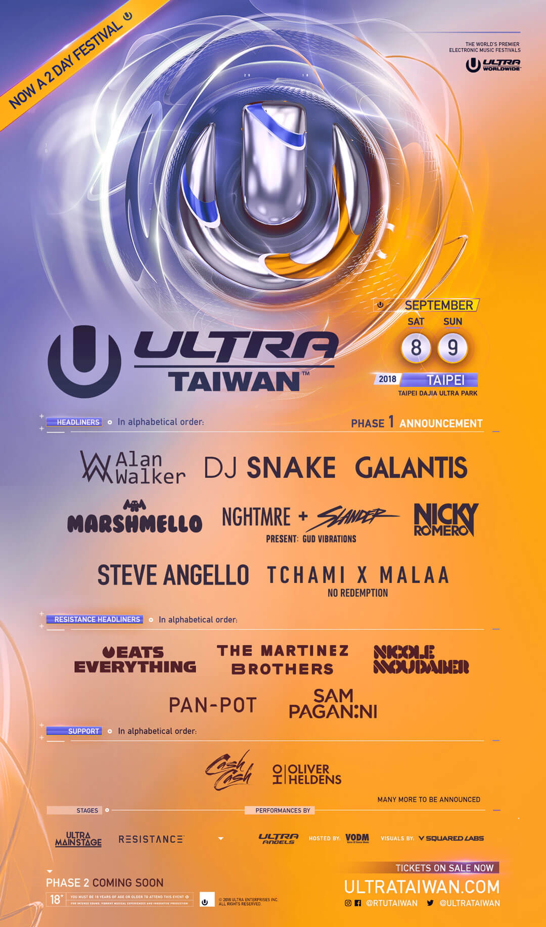 ULTRA Taiwan Announces Phase One Lineup