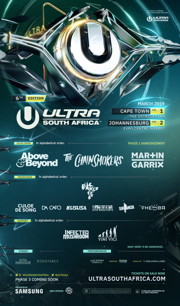 Ultra South Africa 2019 Phase 2 Lineup