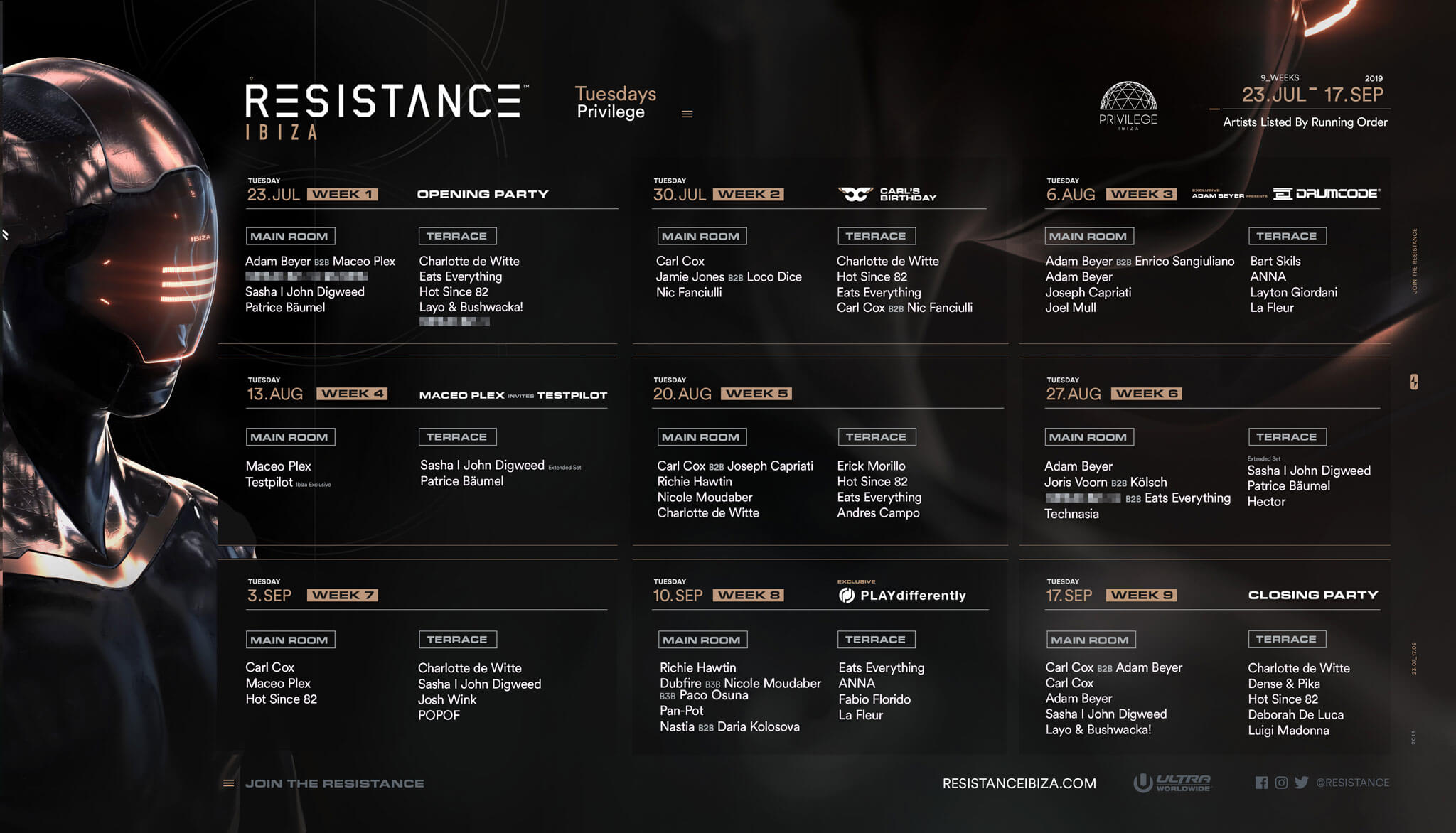 RESISTANCE Ibiza Drops 2019 Season Calendar   Ultra Music Festival