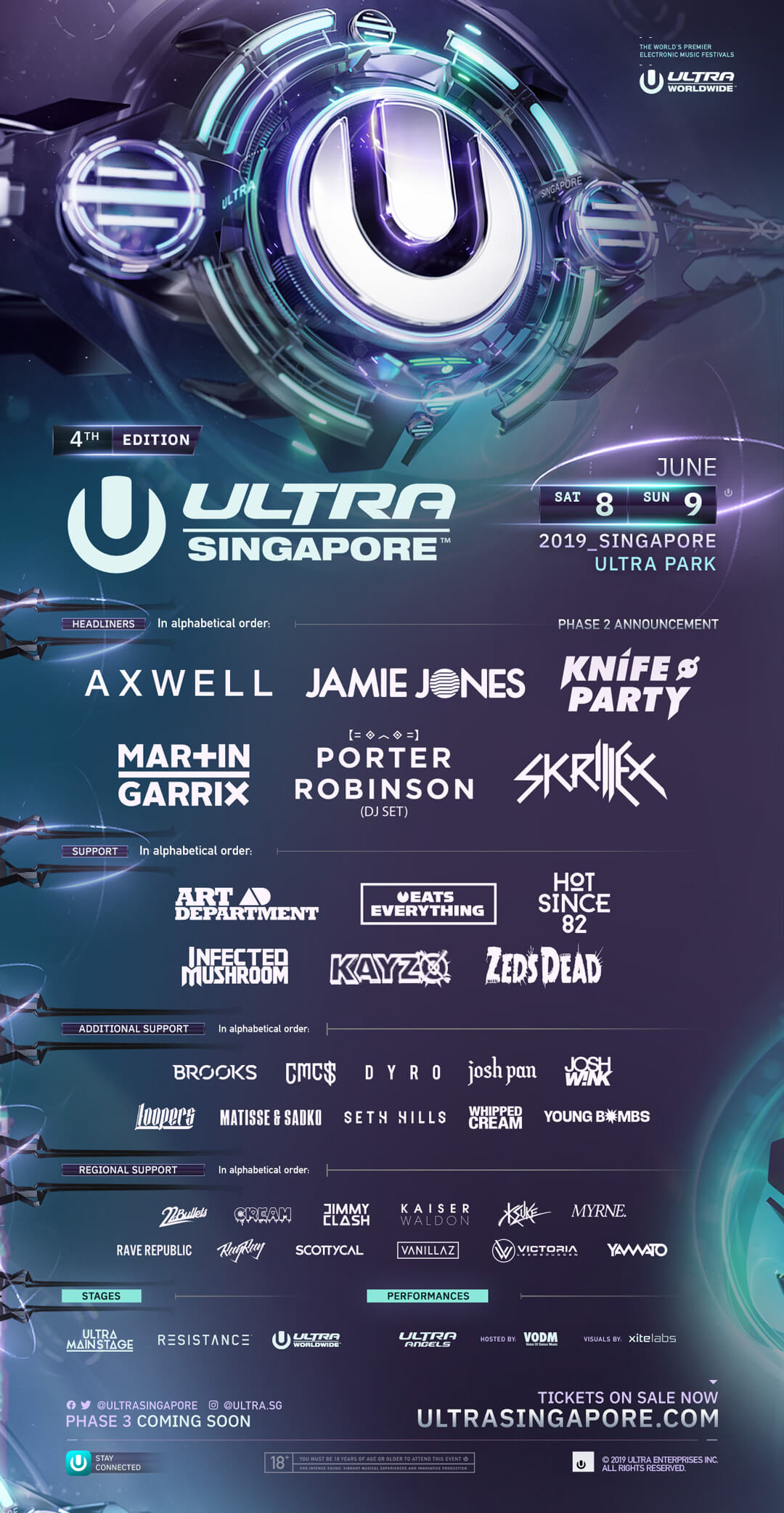ULTRA Singapore Announces Massive 2019 Phase Two Lineup