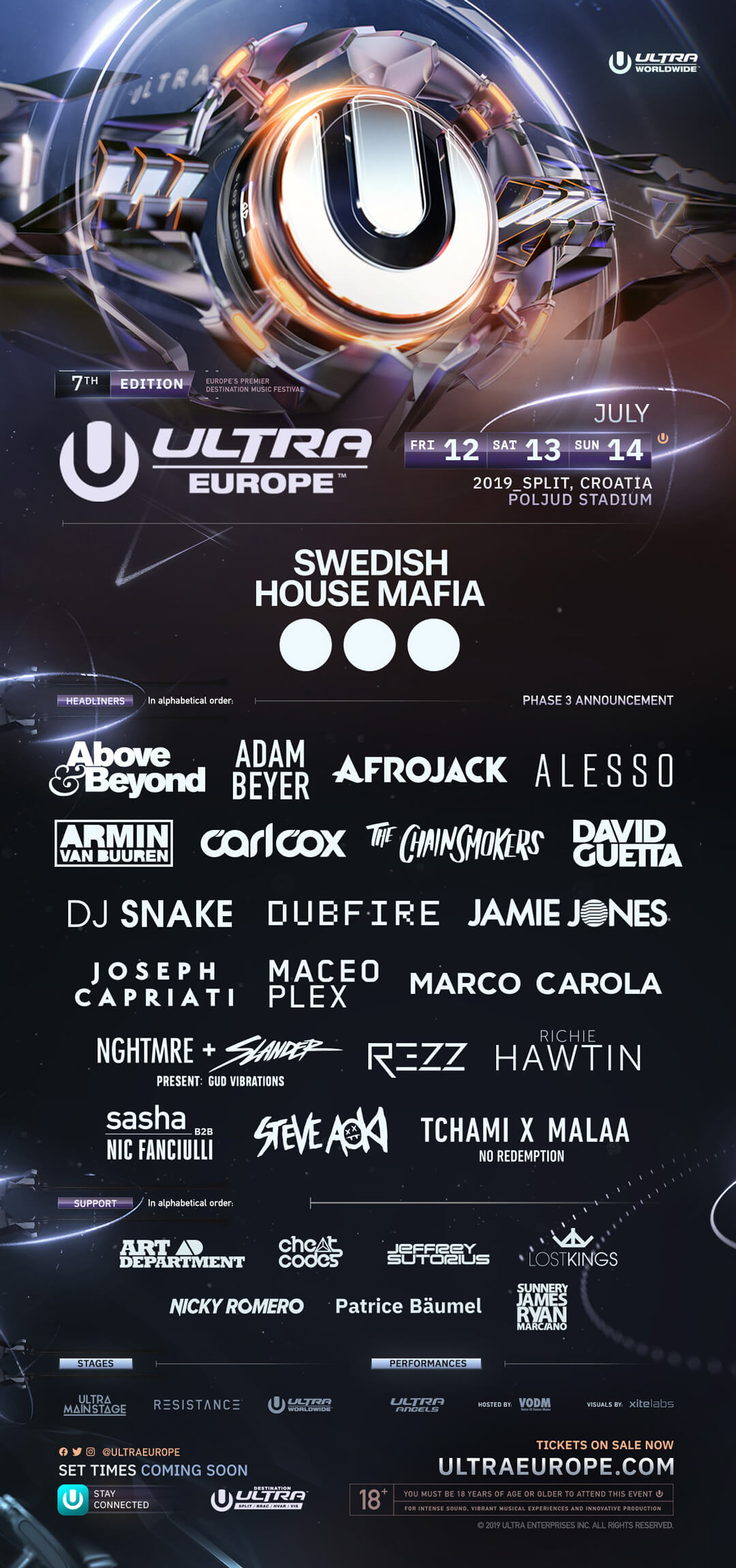 ULTRA Europe Unveils Unmissable Phase 3 Lineup for its Seventh Edition