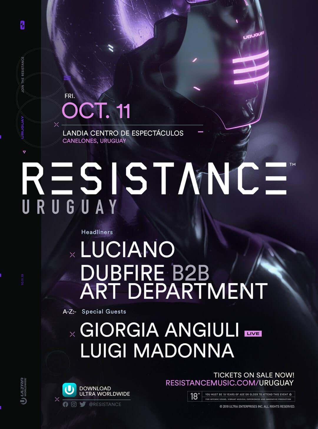 Luciano, Dubfire B2B Art Department Headline RESISTANCE Uruguay Lineup